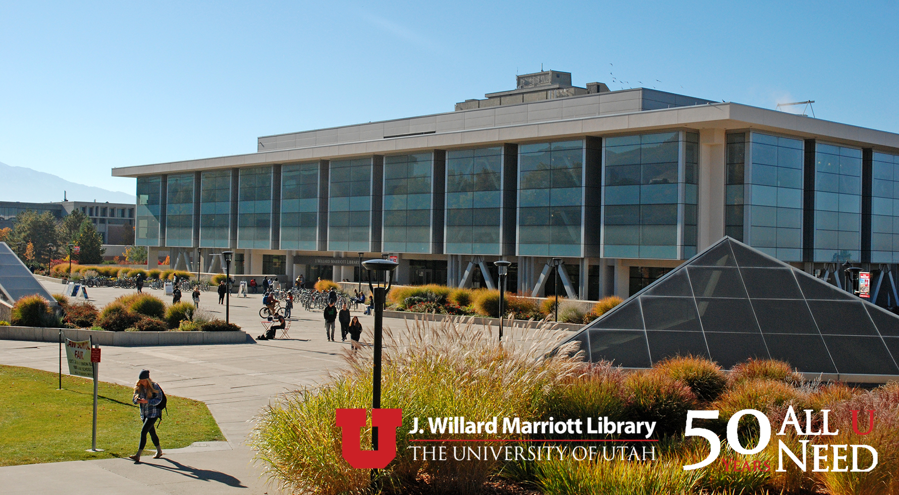 Image of the J. Willard Marriott Library on the campus of the University of Utah.