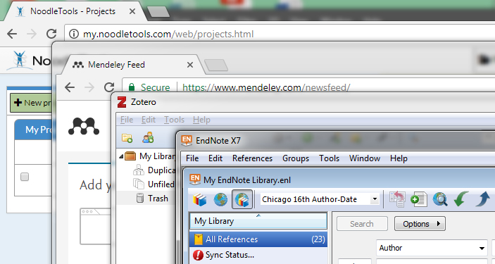A screen capture of four windows of four different citation managers layered on top of each other.  Noodle Tools is largest in the back, with Mendeley layered on top of it, then zotero, then endnote.