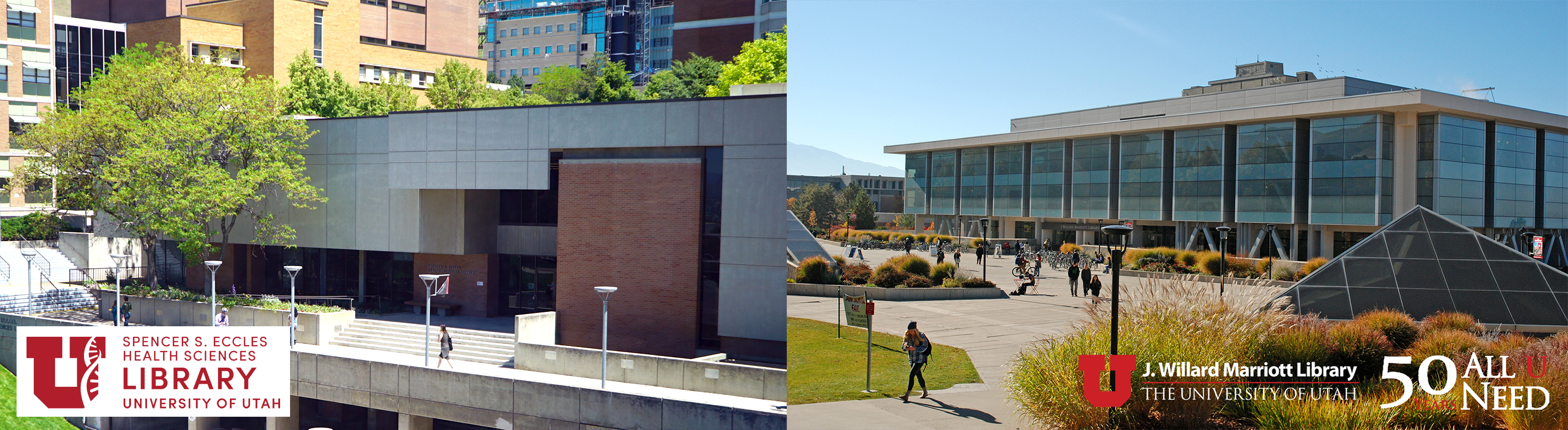 eccles health sciences library with their library logo, and the marriott library with their library logo.