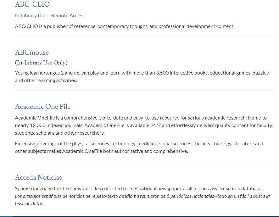 Screenshot of database list
