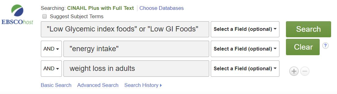 Screen shot of PICOT Question in an Advanced Cinahl database search