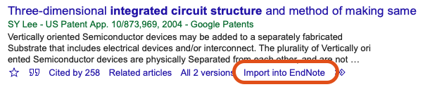 Google Scholar reference Import into EndNote screenshot