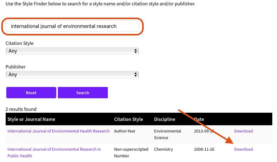 EndNote.com styles download screenshot