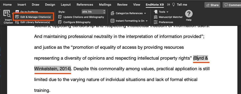 Edit & Manage citations screenshot