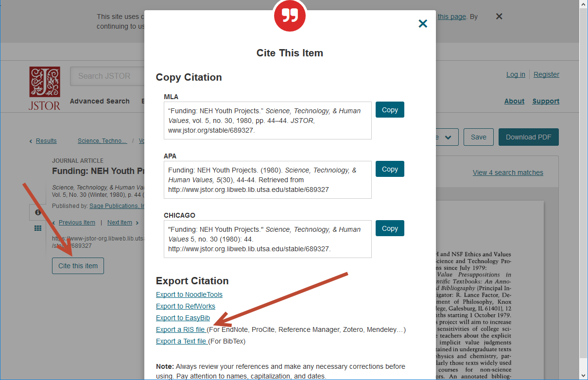 JSTOR Export Example