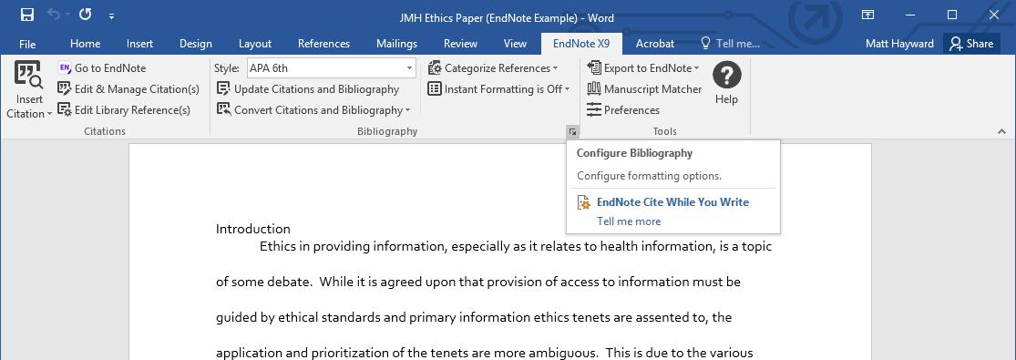 Configure Bibliography drop down