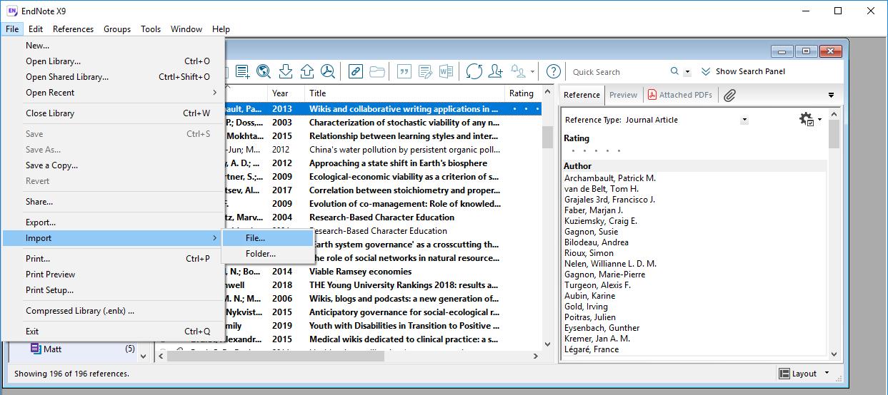 Windows - File > Import