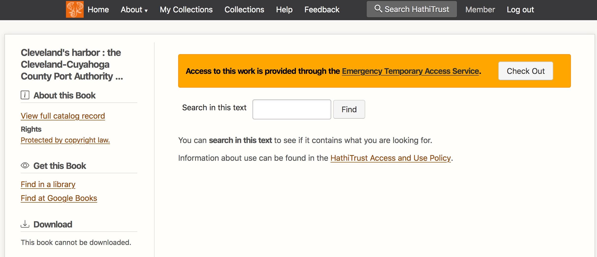 HathiTrust checkout screen