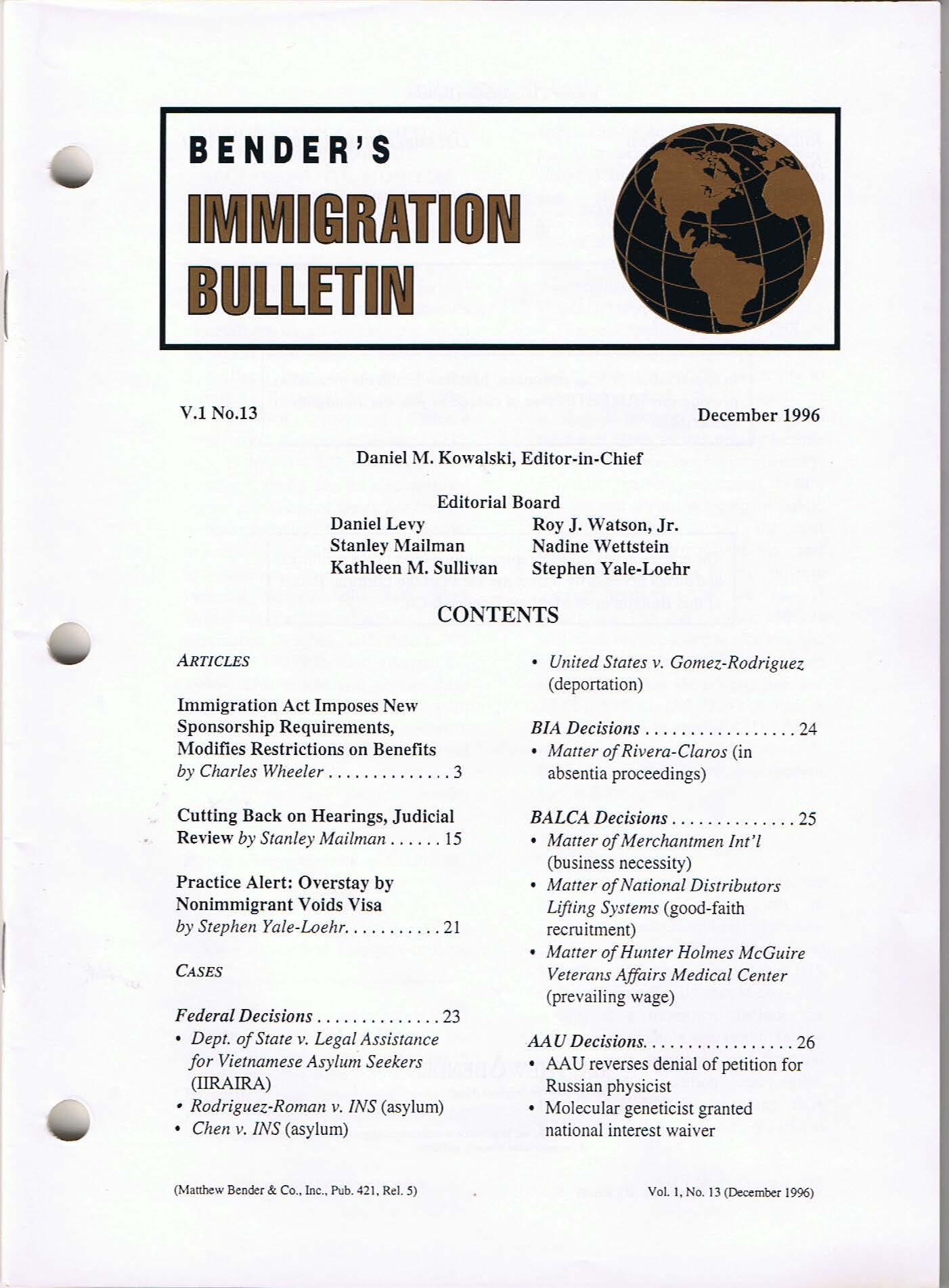 Bender's Immigration Bulletin