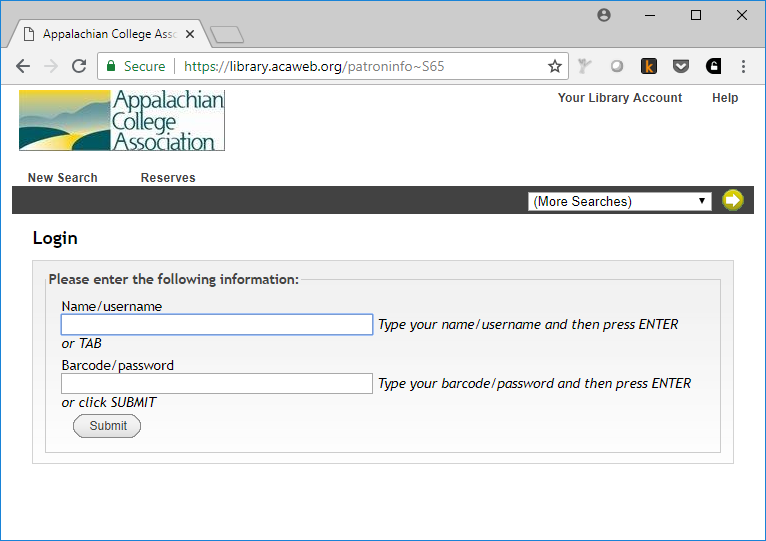 Typical login screen from the Appalachian College Association.