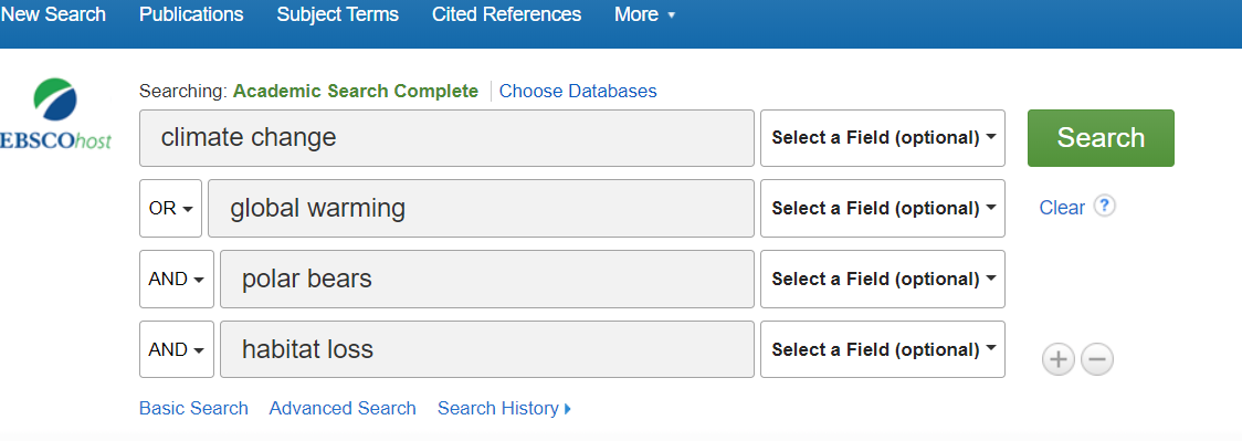 Boolean search string in Academic Search Complete
