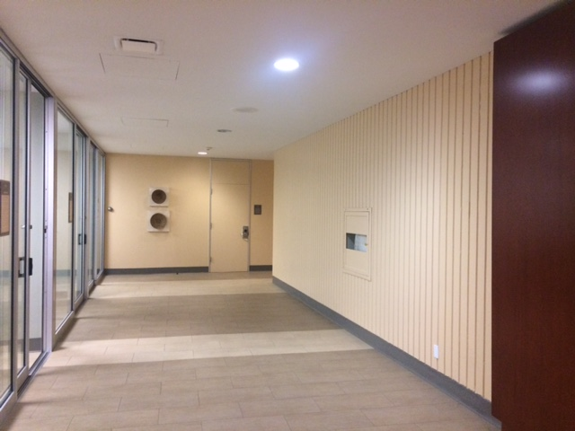 Photo of Hallway from Library Lobby to Group Study Rooms Before Construction