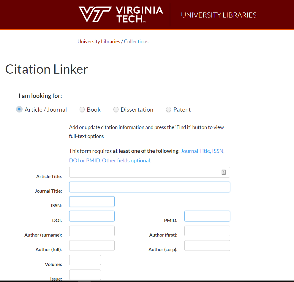 Screenshot of Citation Linker