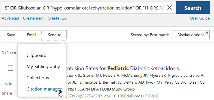 Exporting citations in PubMed - send to Citation Manager
