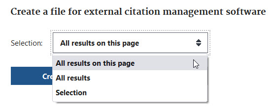 Exporting citations in PubMed  - export options