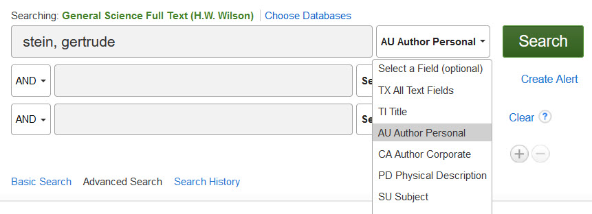 """screenshot advanced search general science full text database. dropdown menu on right of search box lists select a field (optional), TX All text fields, TI title, AU Author personal, CA author corporate, PD Physical description, SU subject. Green button to right of dropdown menu says """"search."""" Create alert link below green search button."""