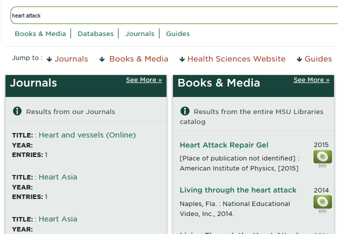 "screenshot of search for ""heart attack"" on health sciences digital library homepage"