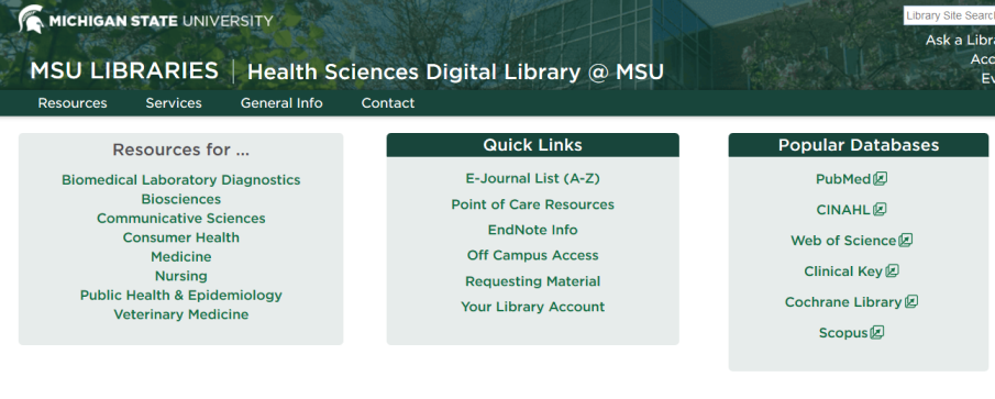 screenshot of health sciences digital library homepage