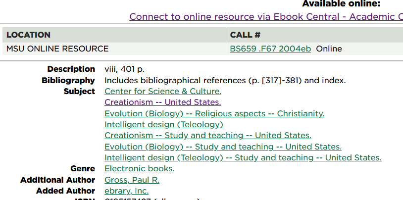 subject headings Center for Science & Culture. Creationism -- United States. Evolution (Biology) -- Religious aspects -- Christianity. Intelligent design (Teleology) Creationism -- Study and teaching -- United States. Evolution (Biology) -- Study and teaching -- United States. Intelligent design (Teleology) -- Study and teaching -- United States.