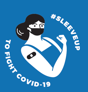 blue, black and white illustration on a blue background. Woman in a tank top. One arm is flexed and has a band-aid on it. Text: #Sleeveup to Fight COVID-19