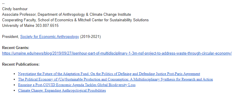 Dr. Cindy Isenhour, Anthropology professor at UMaine, email signature that includes links to recently published books and to a recent grant received