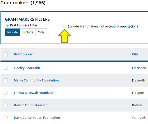 Box to click that excludes grantmakers not accepting applications
