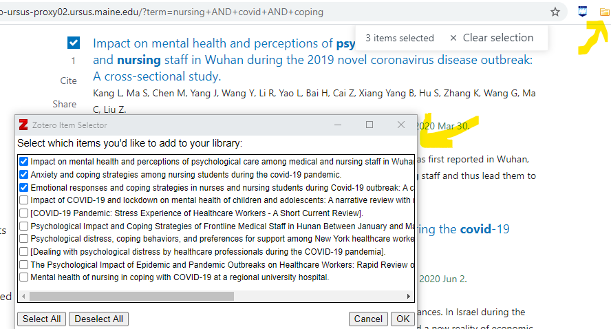 screenshot of a PubMed search and the location of the Zotero connector