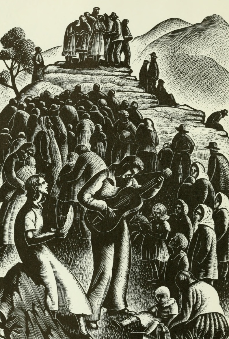 All Day Singing by Clare Leighton, woodcut print from The Frank C. Brown Collection of North Carolina Folklore, Volume Two, 1952.