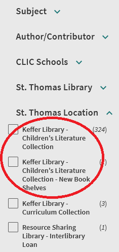 LibrarySearch sidebar showing St. Thomas Location of Keffer Library - Children's Literature Collection