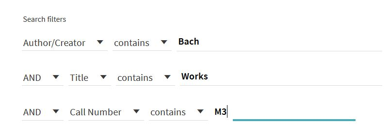 Example of library search. Author contains: Bach. Title contains: Works. Call Number contains: M3.