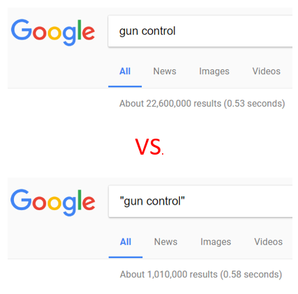 google search results with quotation marks and without quotation marks side by side, fewer results with quotation marks