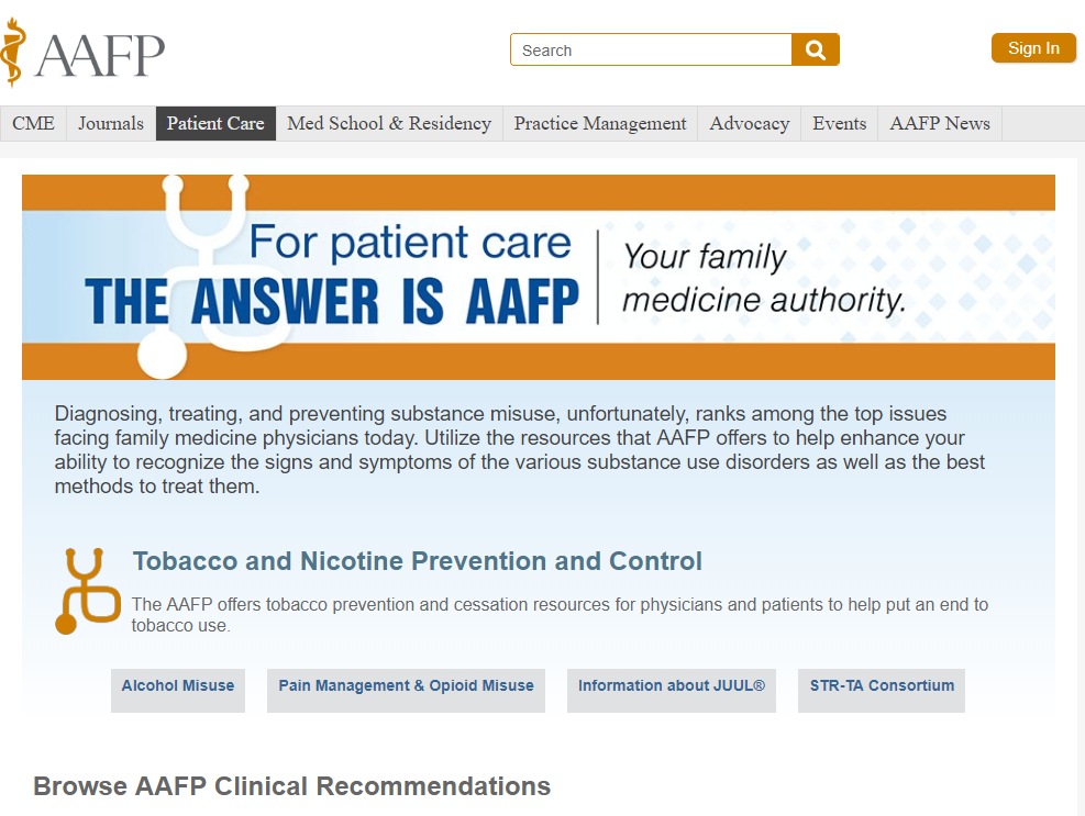 AAFP Clinical Recommendations screenshot