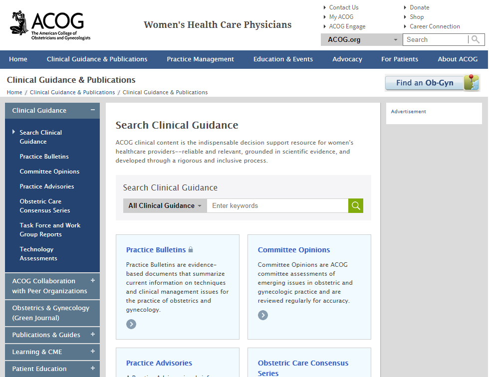 ACOG  Clinical Guidance