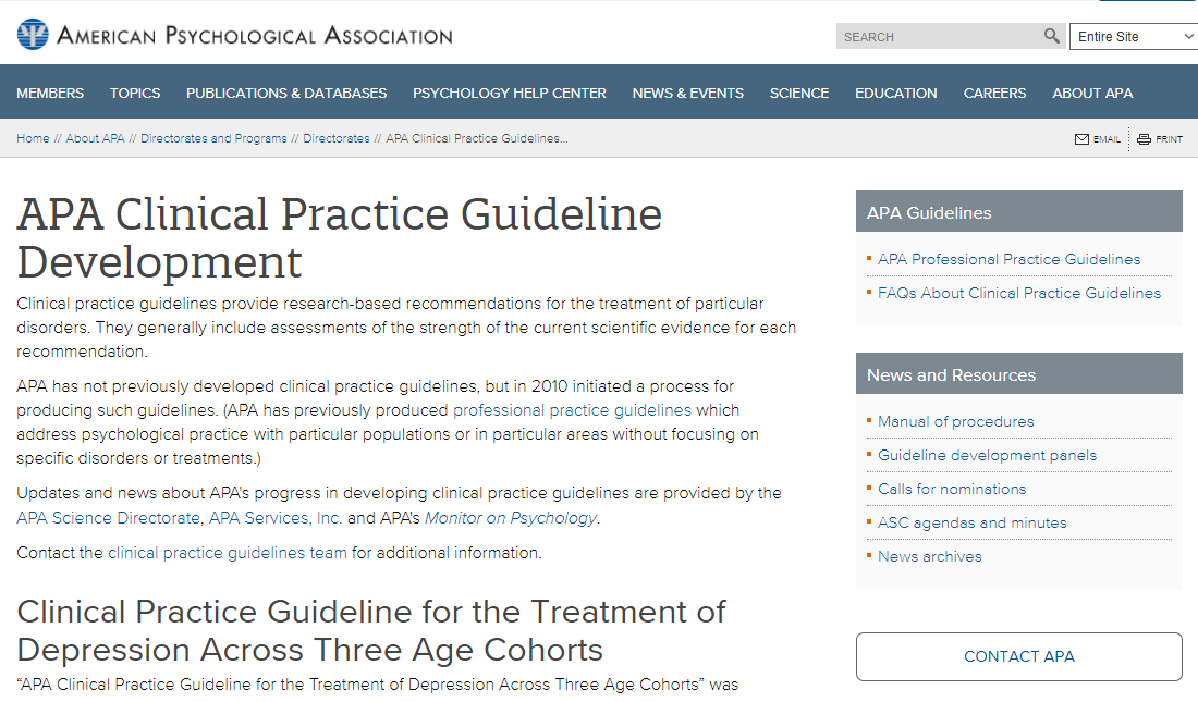 American Psychological Association Guidelines