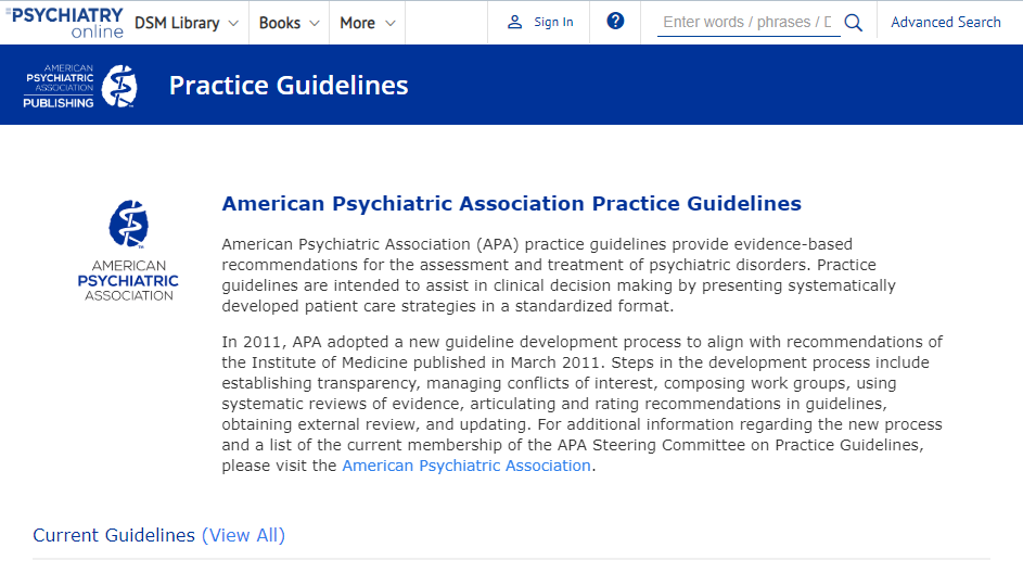 APA guidelines screenshot