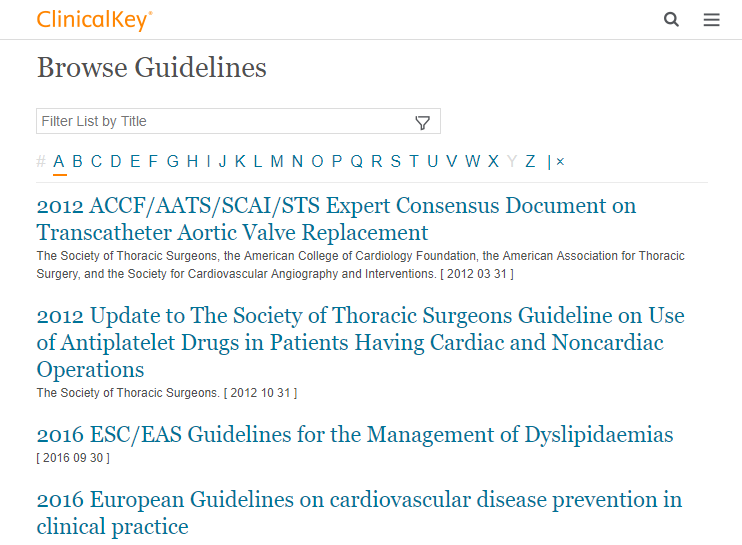 ClinicalKey Guidelines Screenshot