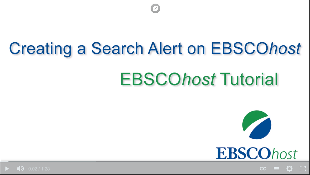 Screen shot of EBSCO Search Alert Video