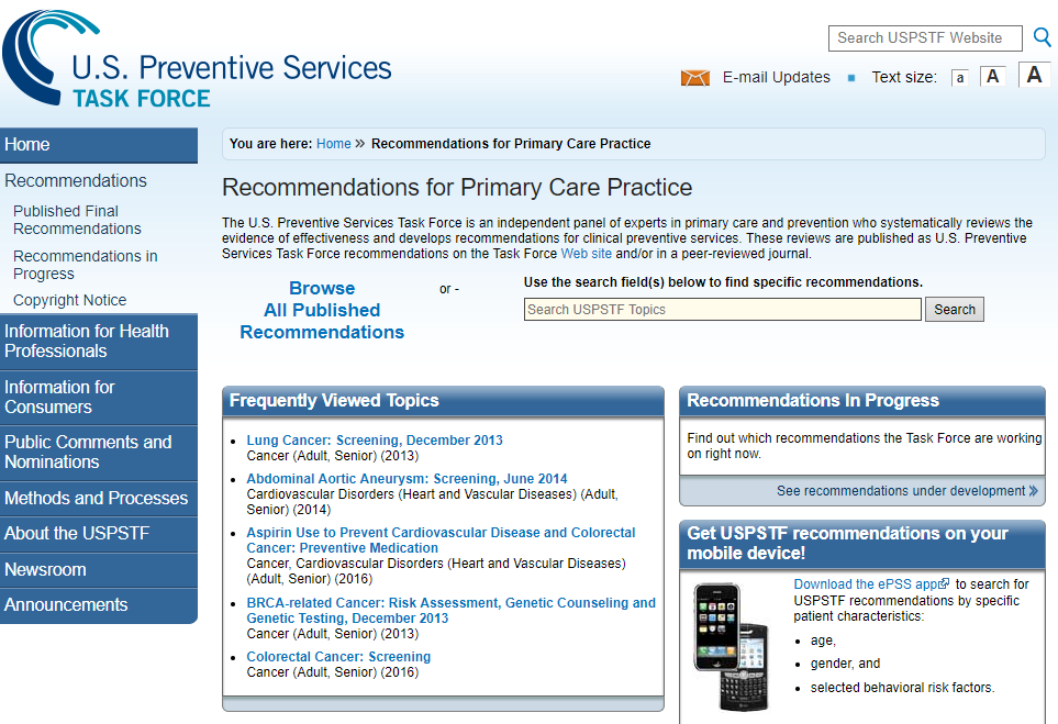 US Preventive Services Task Force Screenshot