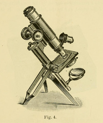 line drawing of antique microscope