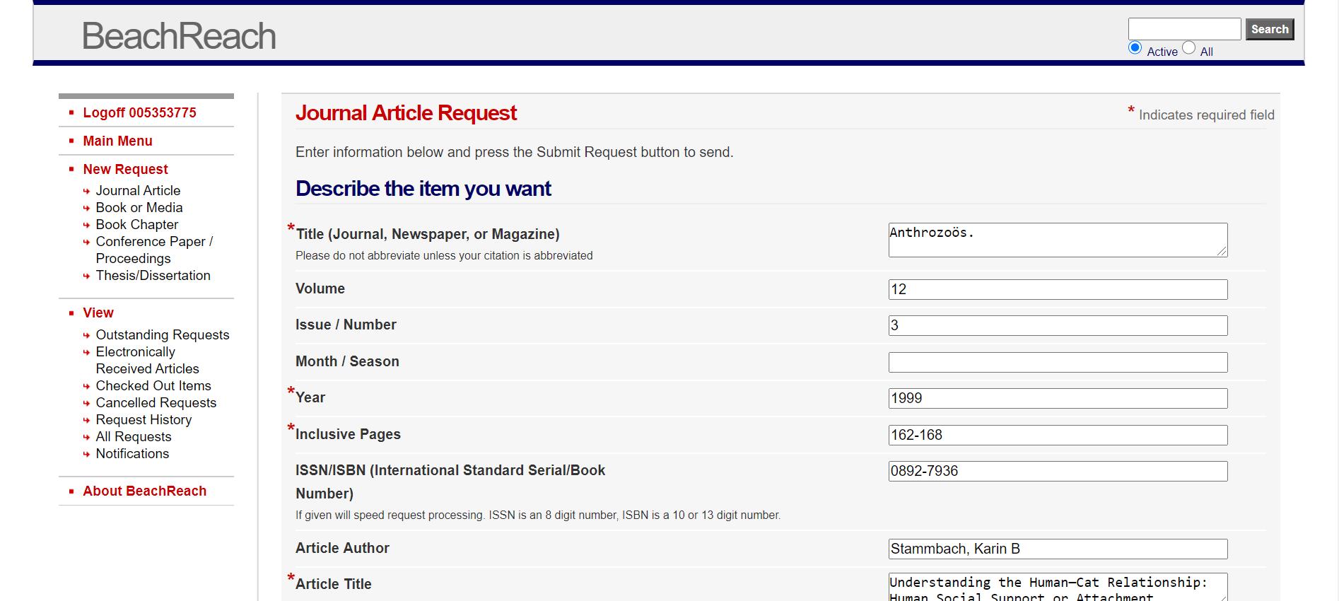 Screenshot of a BeachReach online request form