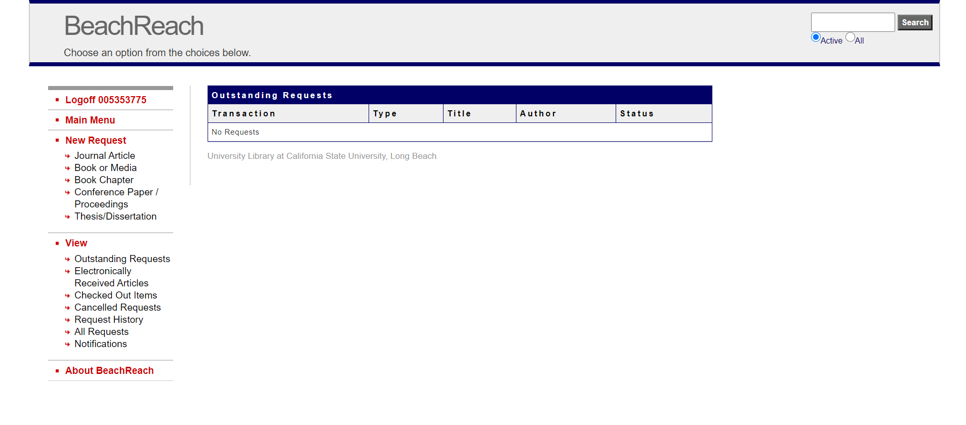 Screenshot of BeachReach online form
