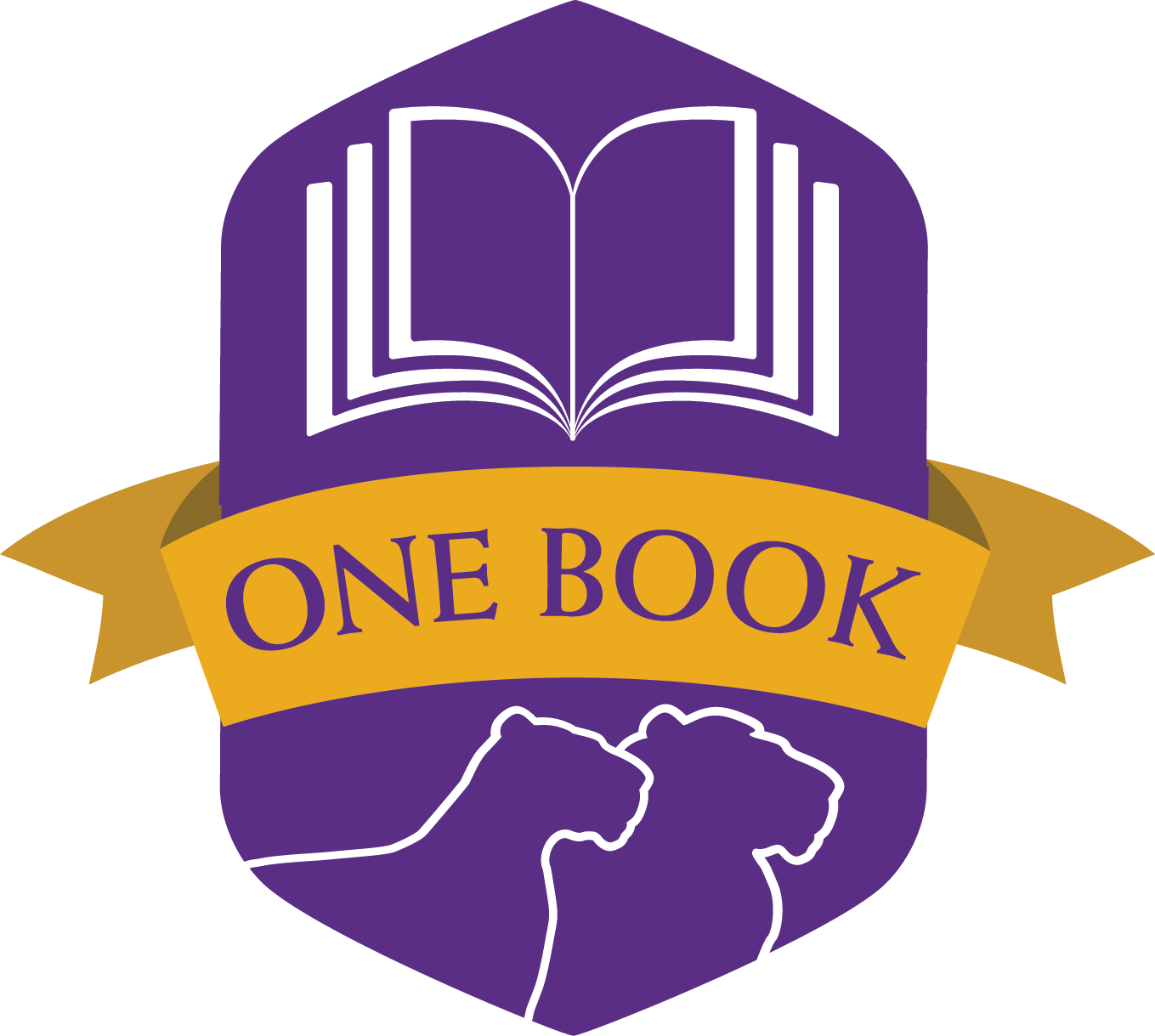 Purple logo with outline of lions and an open book