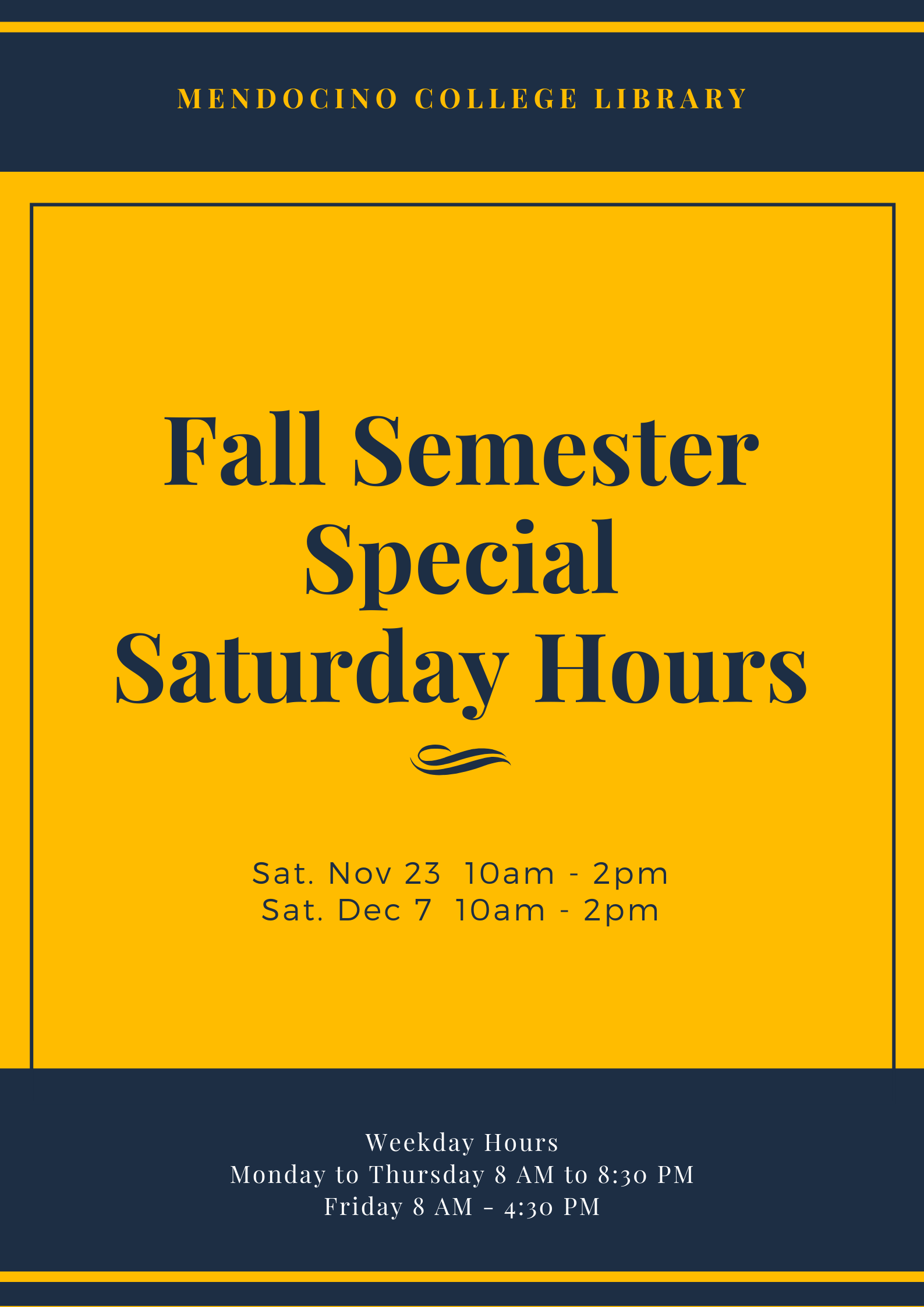 Fall 2019 Saturday Hours