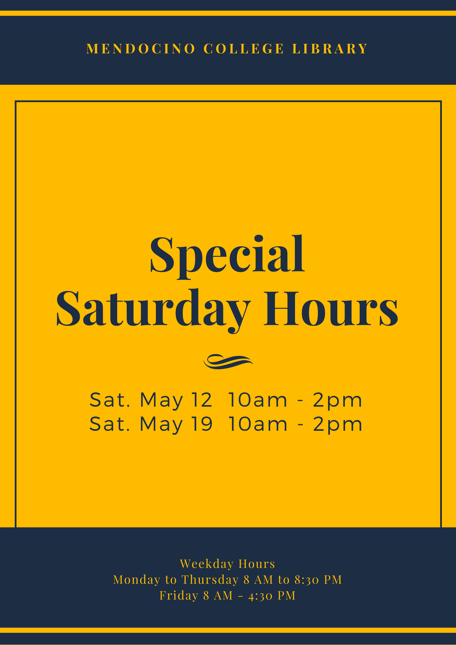 Spring 2018 Saturday Hours