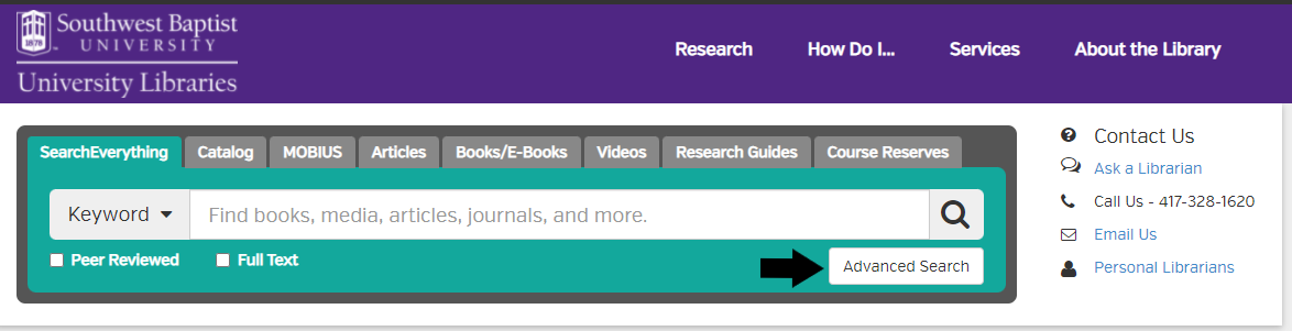 Image of library search box with arrow pointing to advanced search