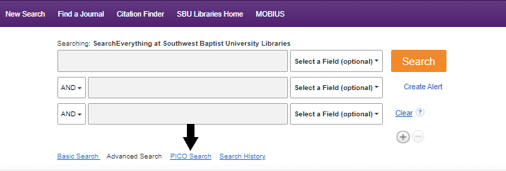 Advanced search screen with arrow pointing to PICO search