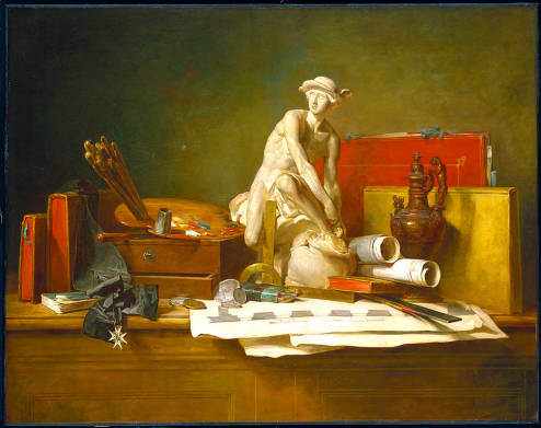 Chardin, Jean-Baptiste-Simeon. The Attributes of the Arts. 1766, oil on canvas, Minneapolis Institute of Arts.