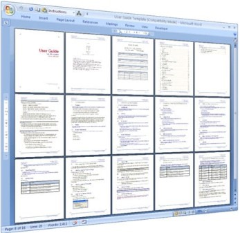 Computer screen showing multiple pages of a document