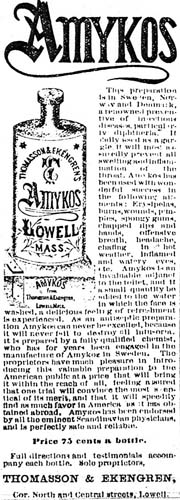 Newspaper clipping of Amykos advertisement
