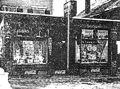 Newspaper clipping of photograph of Flanagan's store in 1940